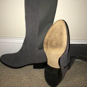 Grey suede zip boot